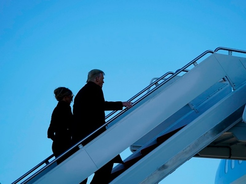 Trump ofrece discurso y se va en Air Force One