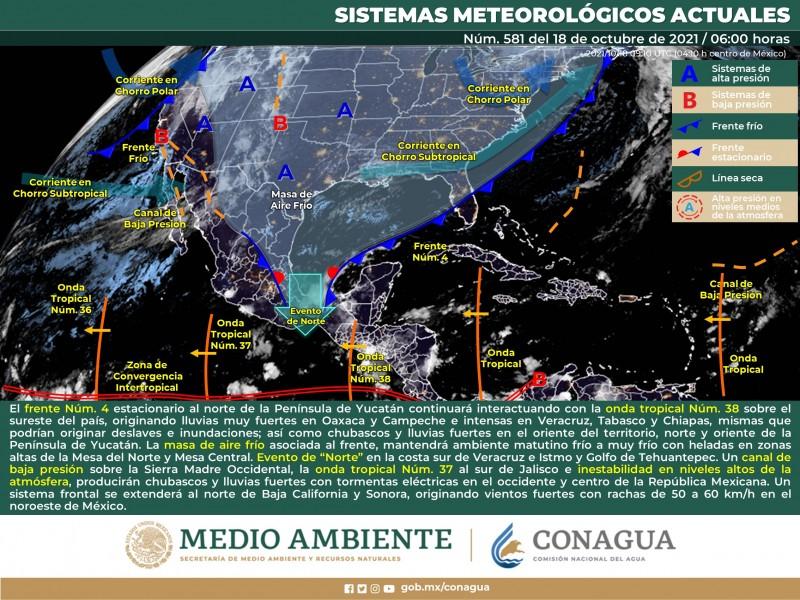 Un sistema frontal se extenderá al norte del país
