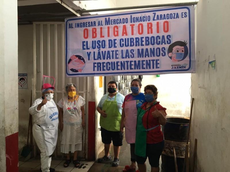 Mercado Ignacio Zaragoza implementa el uso obligatorio del cubreboca