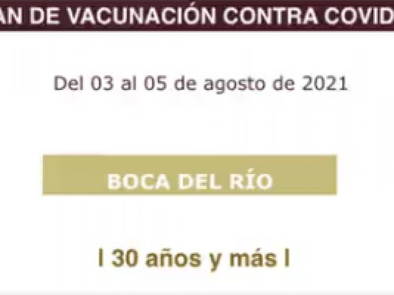 Vacunación en Boca del Río, de 30 años. y más