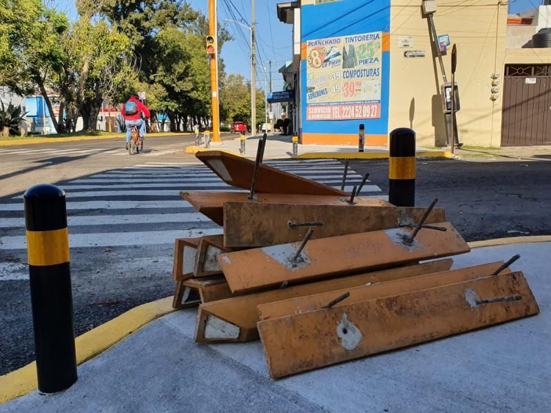 Vecinos de San Manuel impiden colocación de ciclovía en Circunvalación