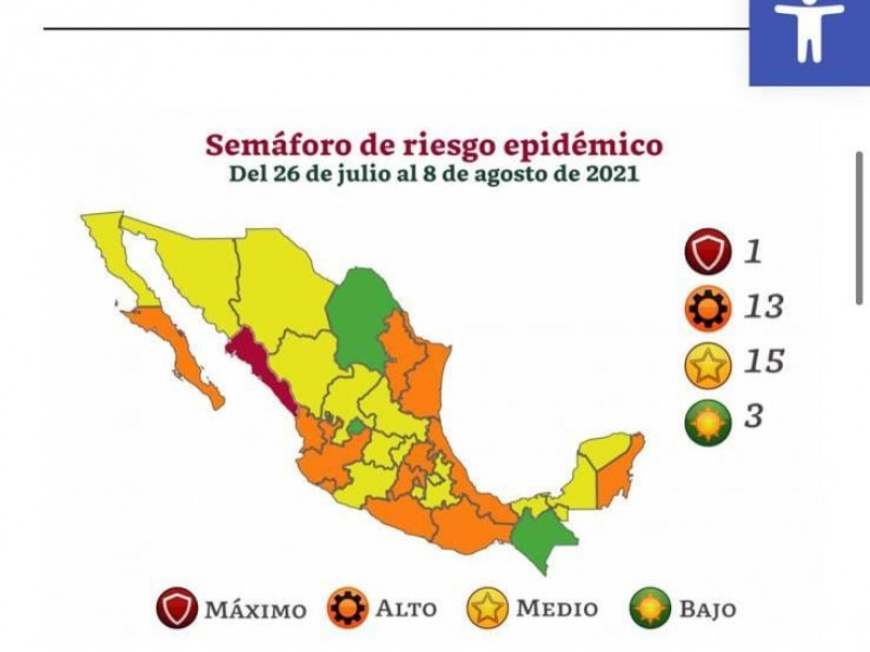 Veracruz retrocede a color naranja
