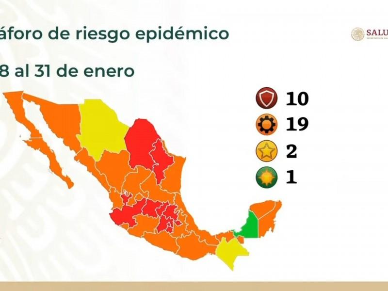 Veracruz a color naranja con 46, 176 contagios de COVID19