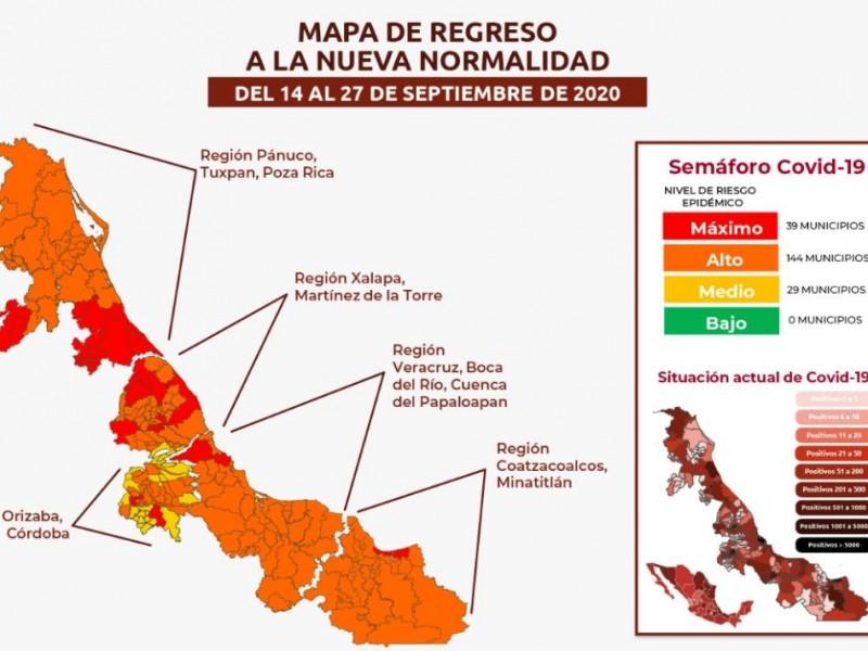 Veracruz retrocede en el Semáforo Epidemiológico a Naranja
