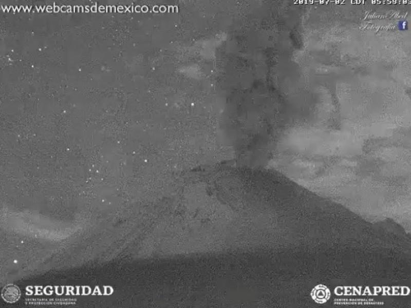 Volcán Popocatépetl se mantiene en Amarillo Fase 2