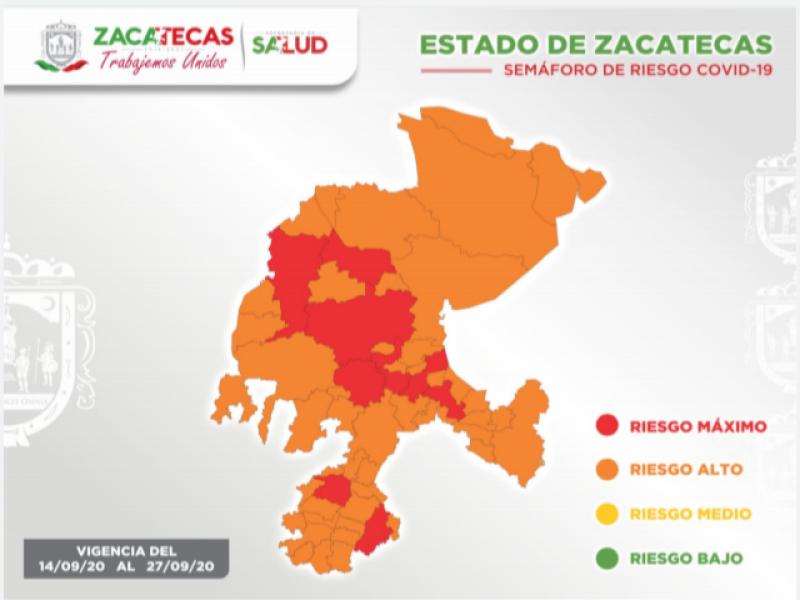 Zacatecas registra 70 casos nuevos de Covid-19