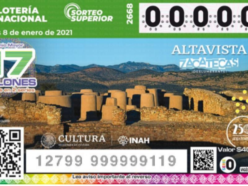 Zona arqueológica de Altavista en billete de lotería