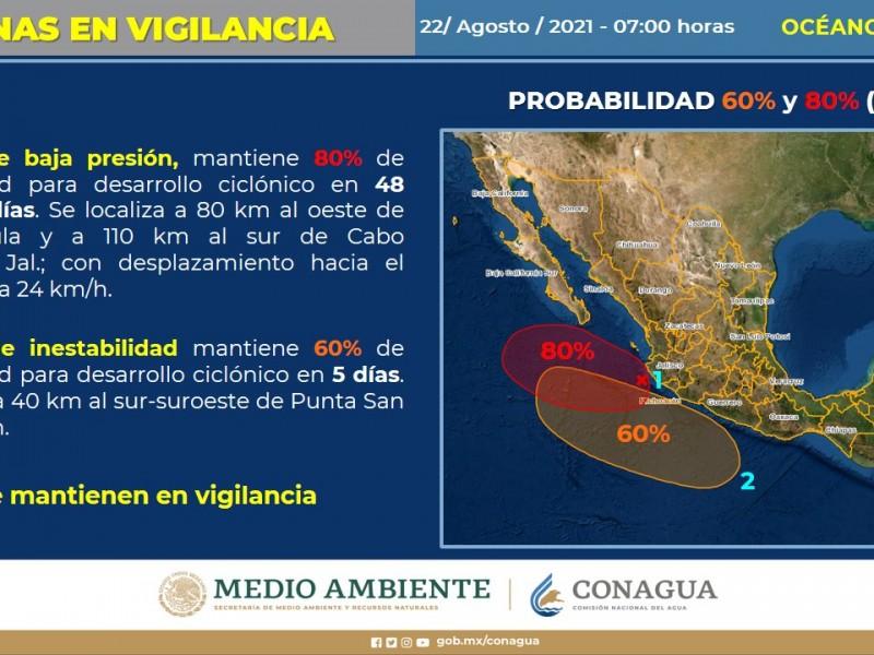 Zona de inestabilidad y baja presión con probabilidad desarrollo ciclónico