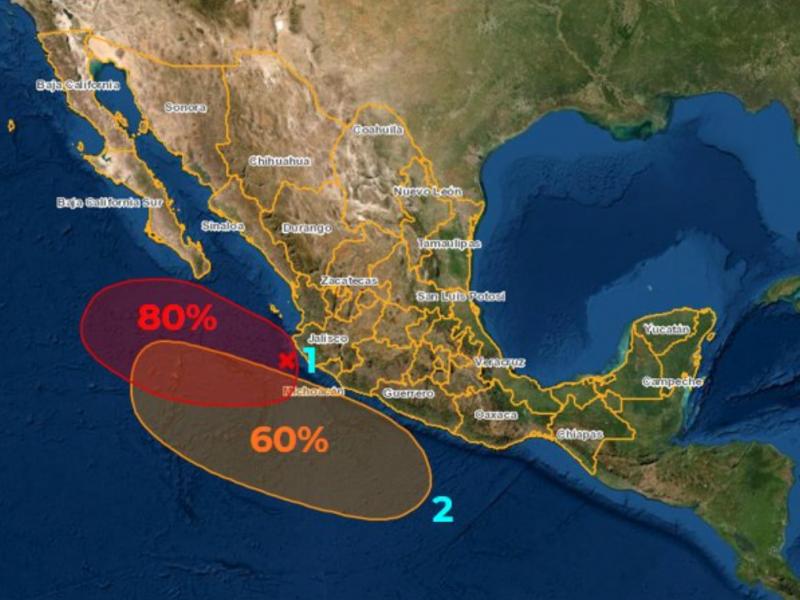 Zonas de inestabilidad frente a Jalisco y Michoacán